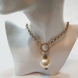 Chico's Faux Long Pearl Necklace w Gold Tone Chain